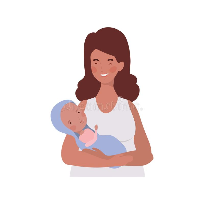 Woman with a newborn baby in her arms. Vector illustration design vector illustration