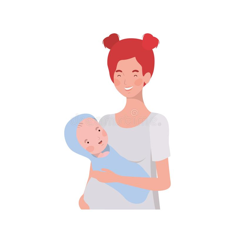 Woman with a newborn baby in her arms. Vector illustration design stock illustration