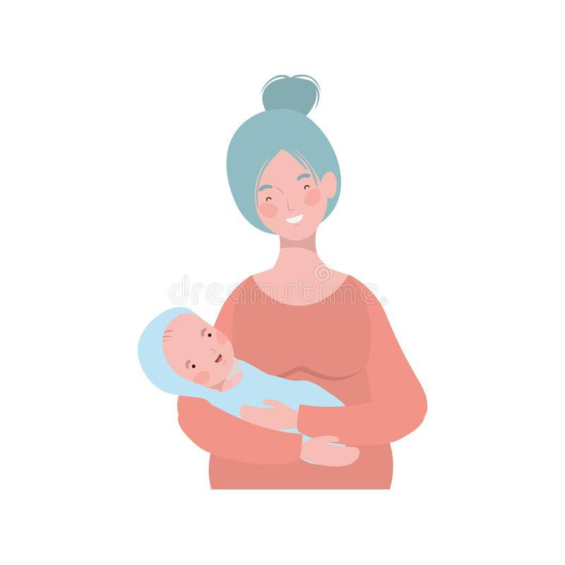 Woman with a newborn baby in her arms. Vector illustration design royalty free illustration