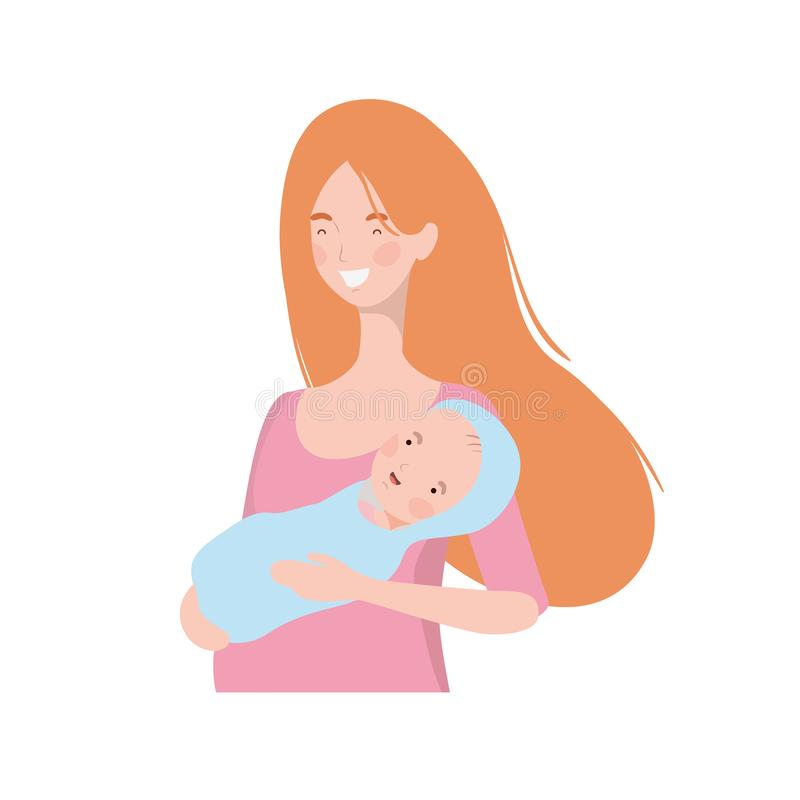 Woman with a newborn baby in her arms vector illustration