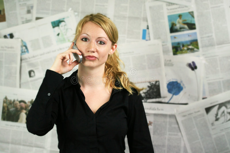 woman with newspaper royalty free stock photos