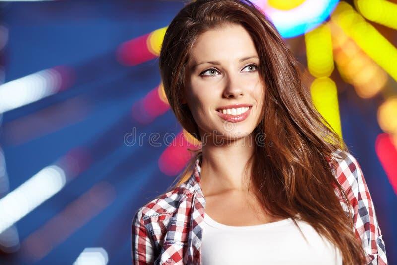 Woman Next  Amusement Park Stock Photography
