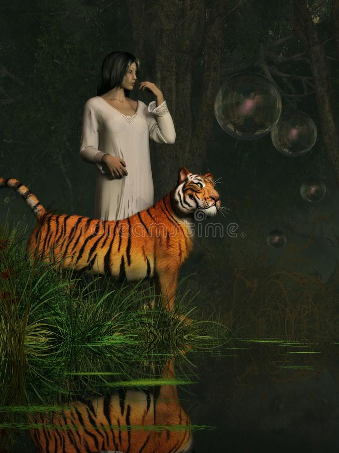Dreams of Tigers and Bubbles royalty free illustration