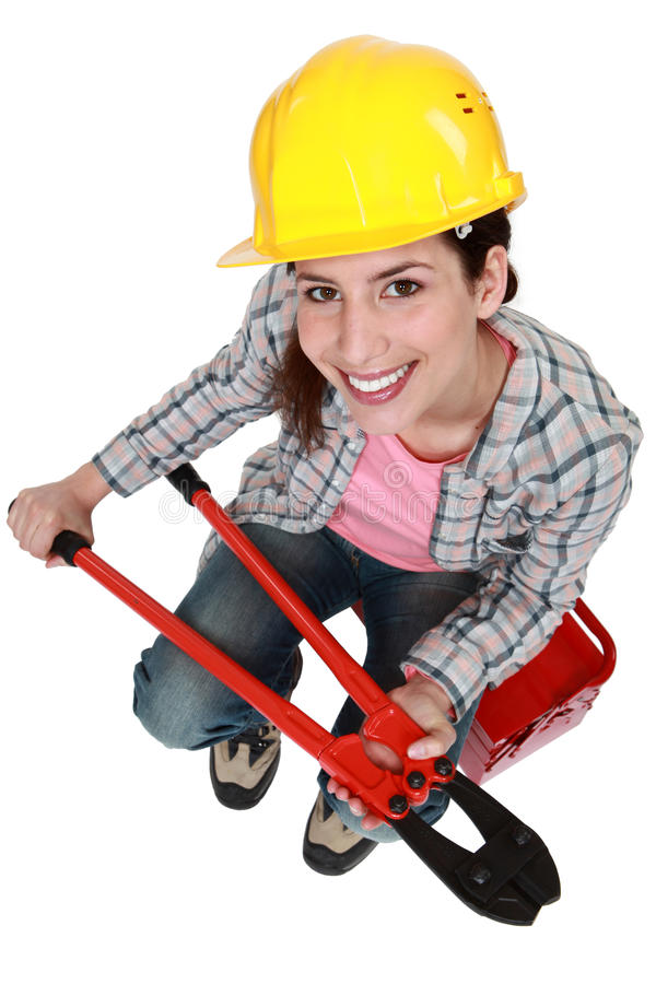Woman With Nippers Stock Images