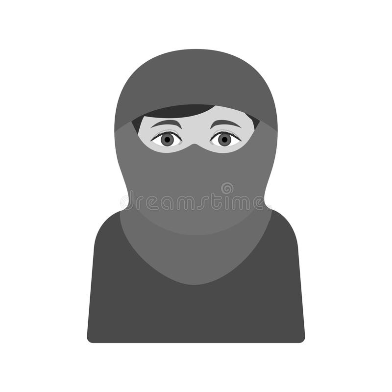 Woman with Niqab. Burka, arab, women icon vector image. Can also be used for islamic. Suitable for mobile apps, web apps and print media royalty free illustration