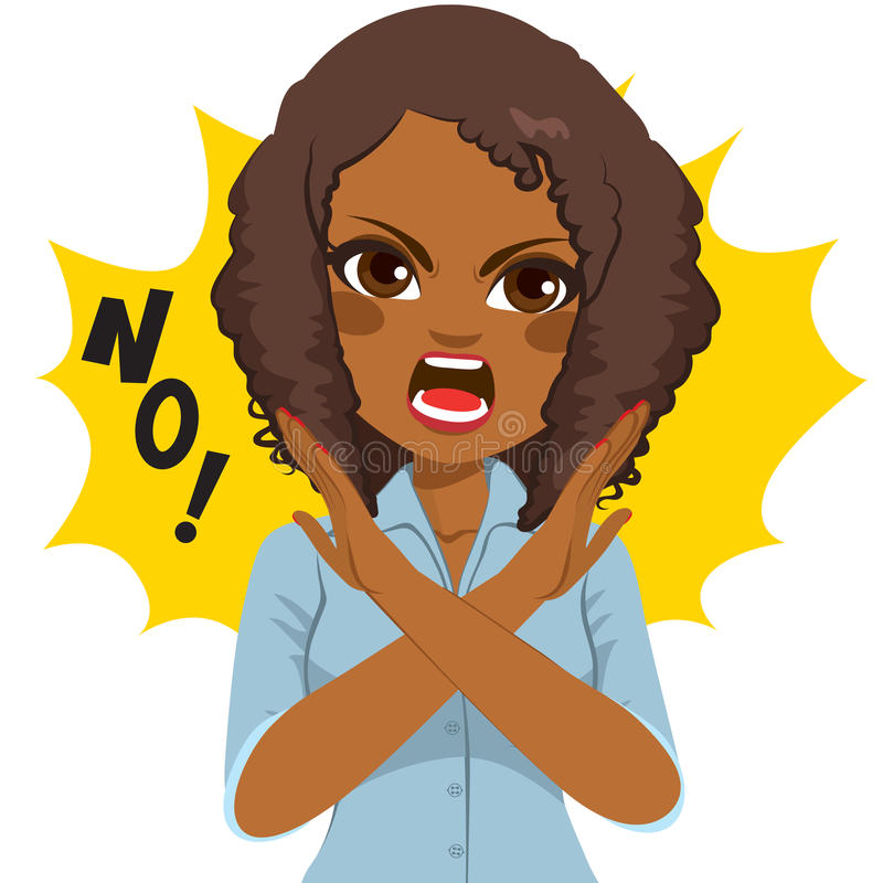 Woman No Arms Sign. Young African American angry woman making crossed arms sign says no royalty free illustration