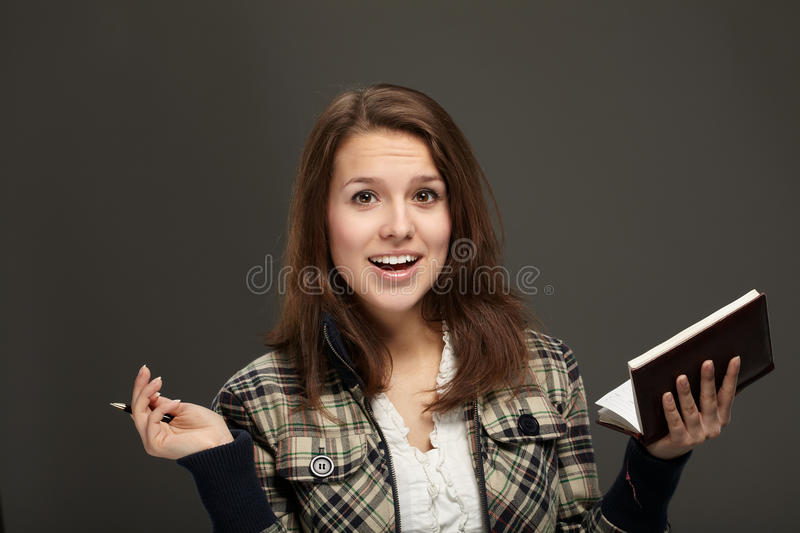 Woman with notebook royalty free stock image