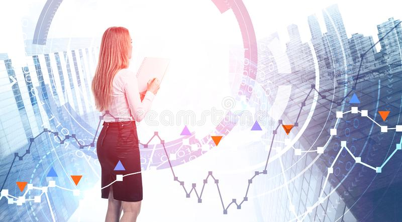 Woman with notebook, forex graph interface vector illustration