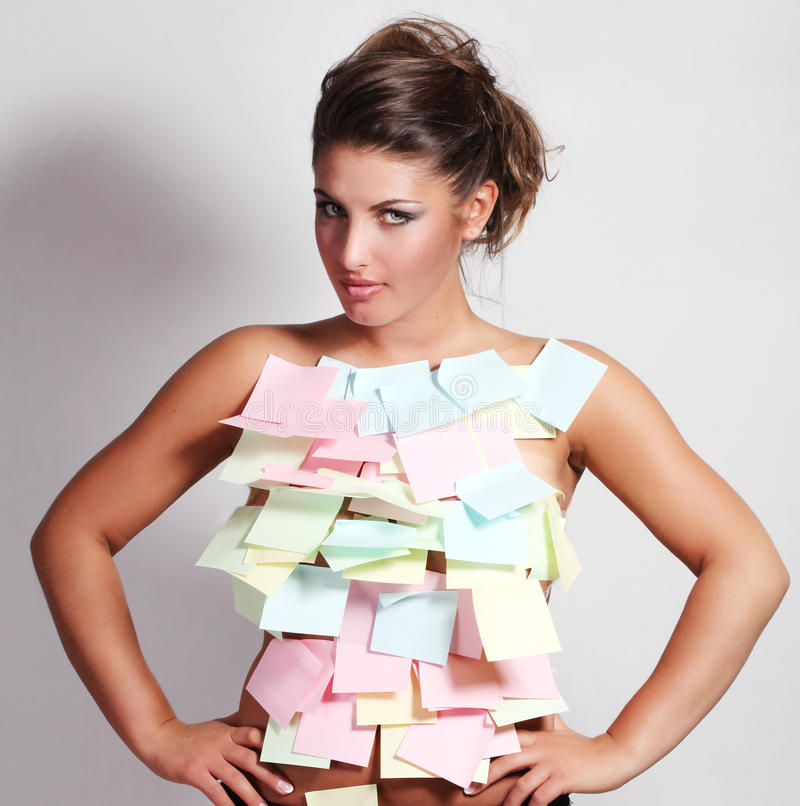 Download Woman and notes paper stock image. Image of note, message - 14691421