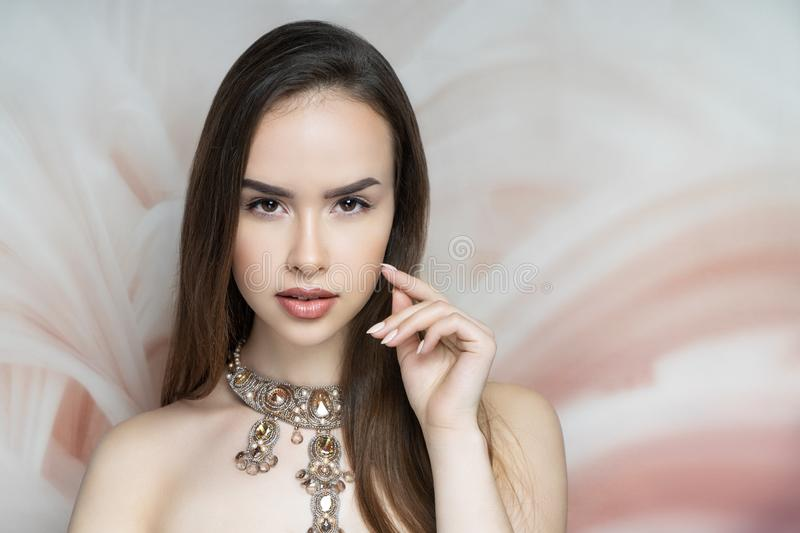 Woman nude make up stock photo