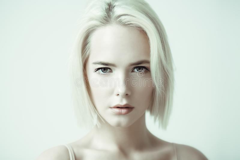 Woman with nude makeup royalty free stock image