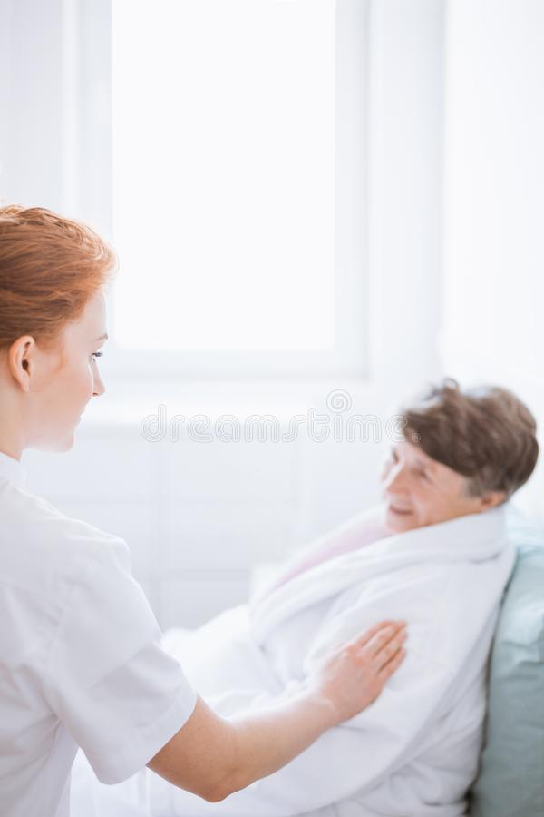 Woman in nursing home stock images