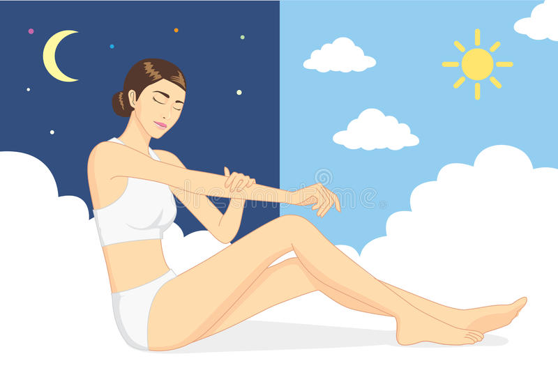 Woman nurture skin at day and night. stock illustration