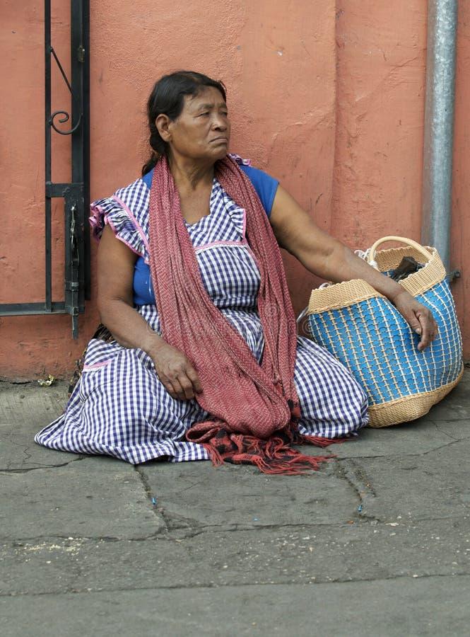 Oaxaca Woman. A woman from Oaxaca sitting on the ground royalty free stock photo