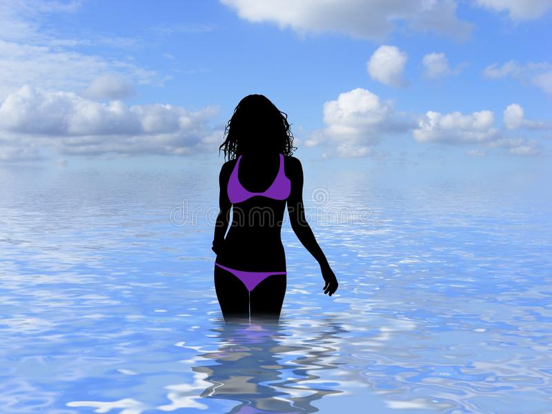 Download Woman in the ocean stock illustration. Image of woman - 15098293