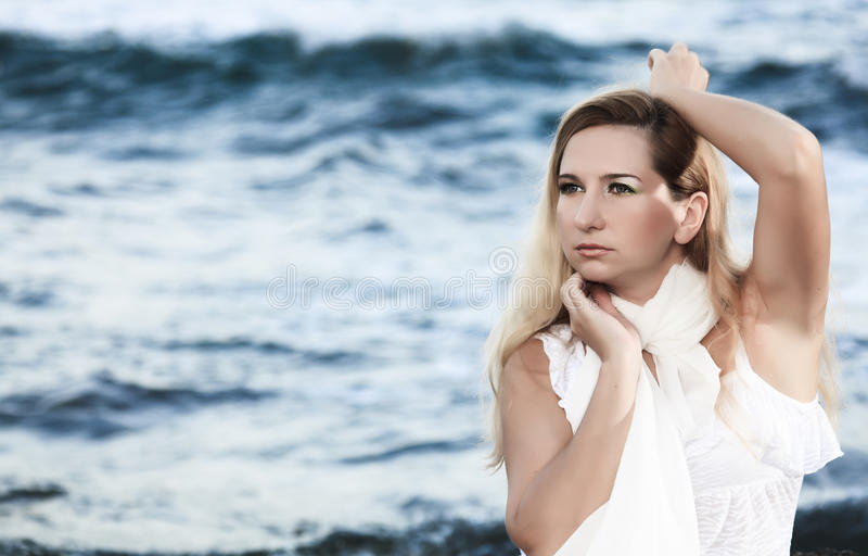 Download Woman and ocean stock image. Image of cheerful, blue - 16228653