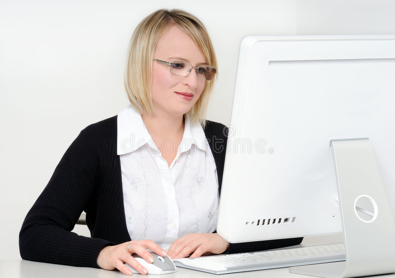 Woman in office stock images