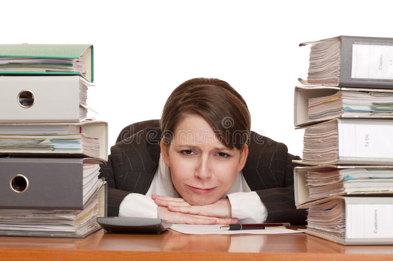 Download Woman In Office With Folder Stacks Is Desperate, S Stock Image - Image: 17119019