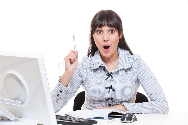 Woman in office got an idea royalty free stock image