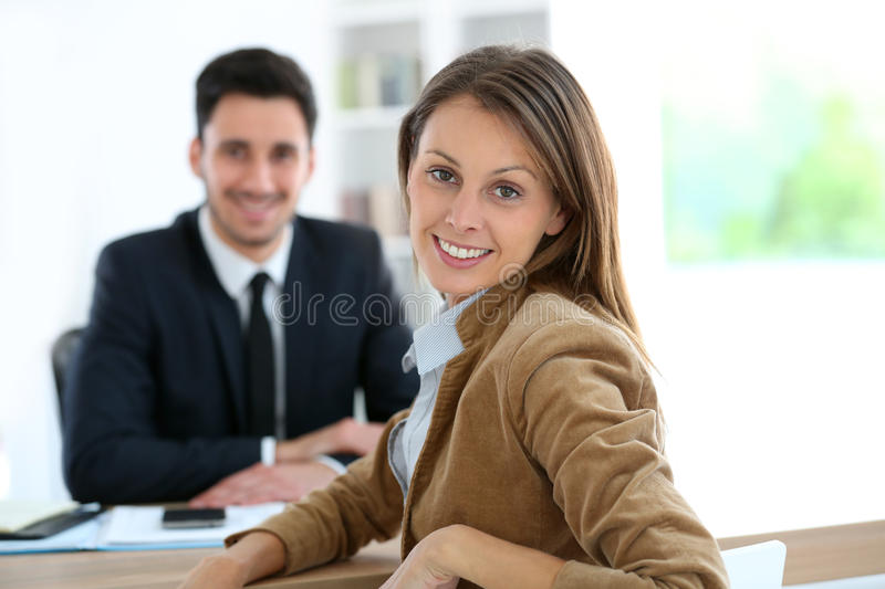 Woman at office meeting financial advisor royalty free stock images