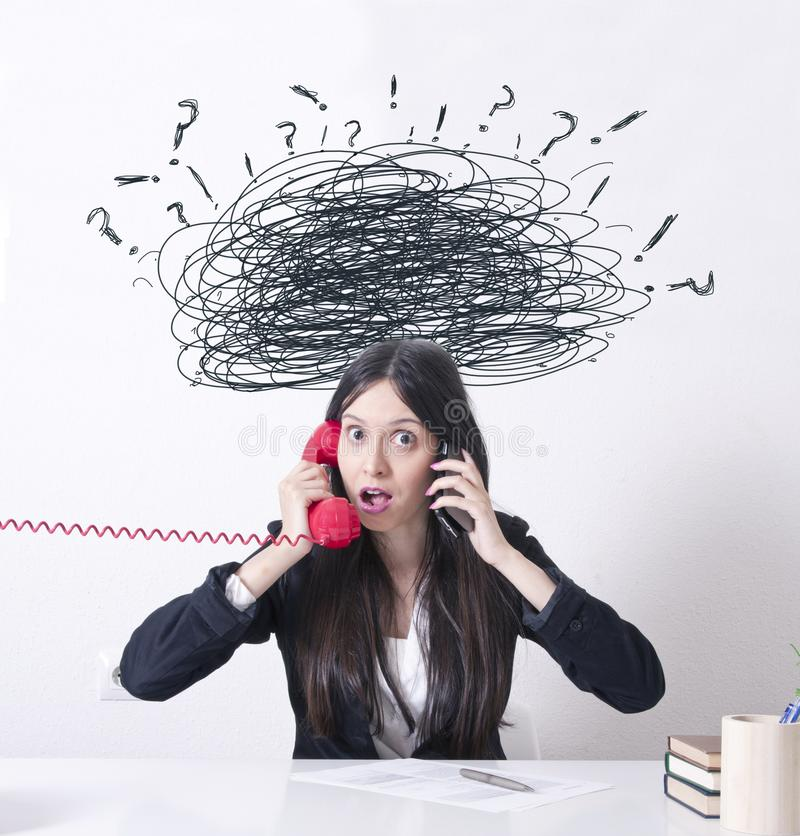 Woman in the office with problems and stress royalty free stock photos