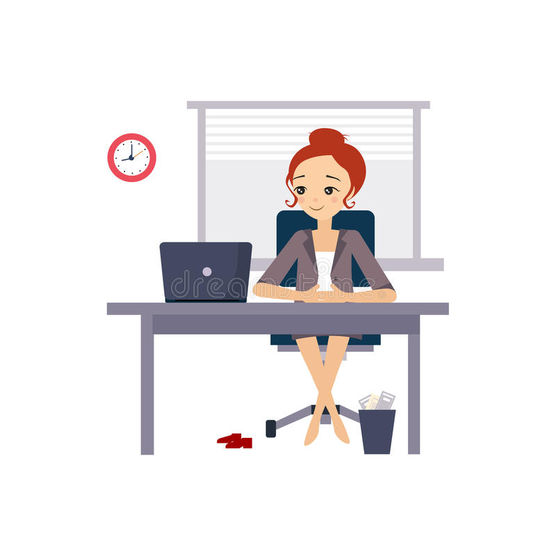 Woman at Office. Daily Routine Activities of Women royalty free illustration