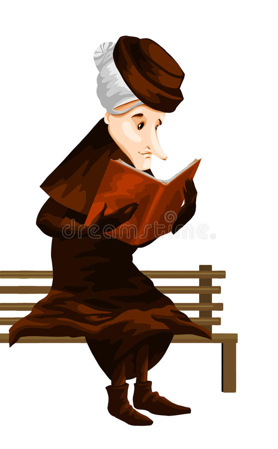 Download Woman Old Book Bench Character Cartoon Style  Illustration Stock Illustration - Illustration of librarian, coat: 31879282
