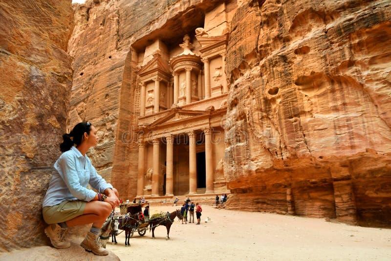 Woman in Old City Petra Jordan stock image