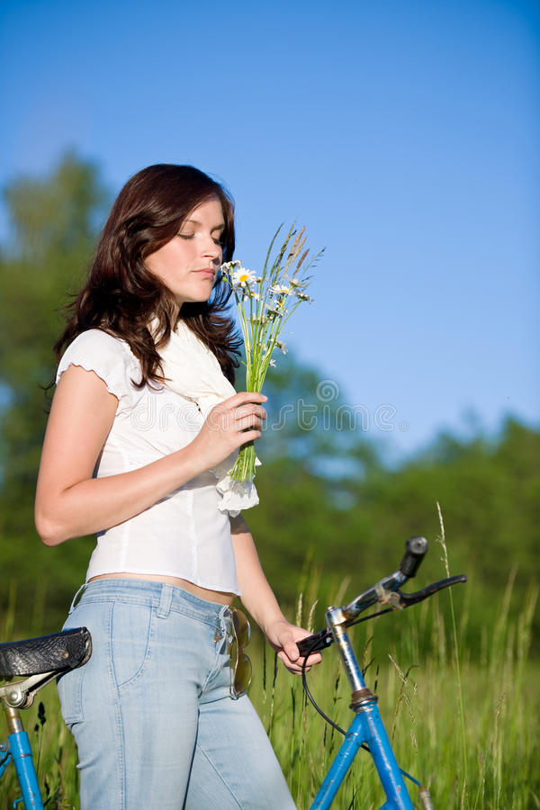 Download Woman With Old-fashioned Bike And Summer Flower Stock Photo - Image: 14751100