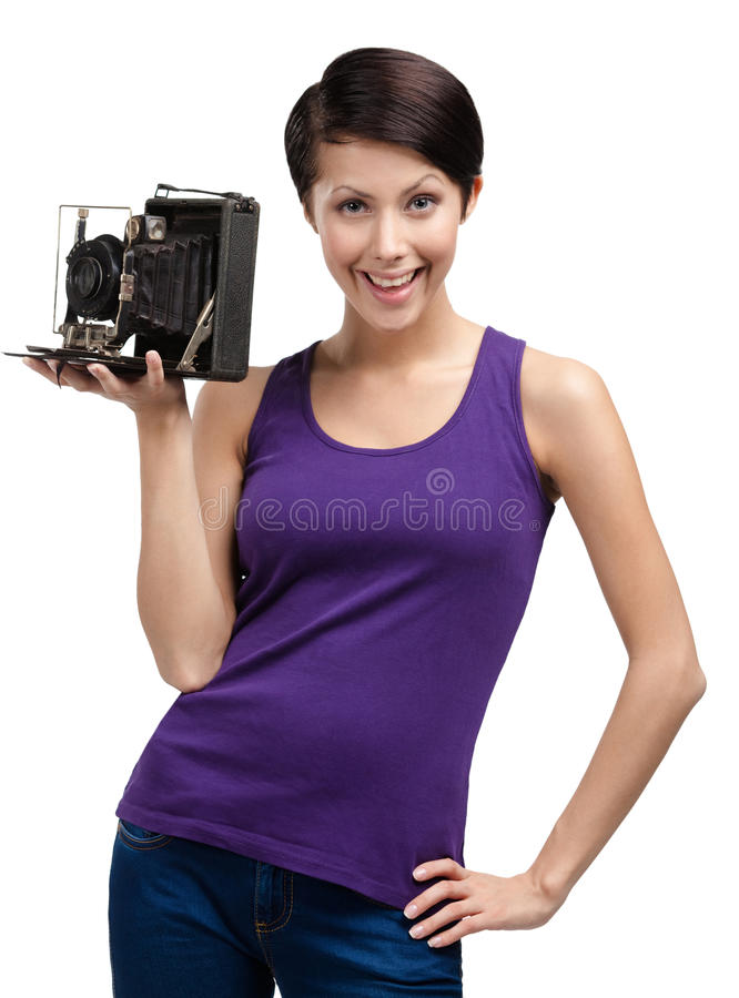 Woman with old photographic camera