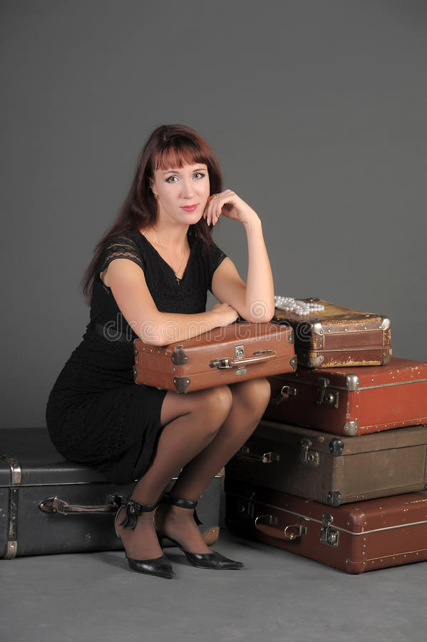 Download Woman And Old Suitcases Stock Images - Image: 22274054
