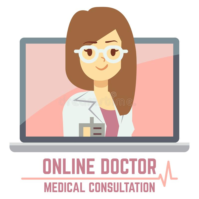 Woman online doctor consultation concept design. Woman online doctor. Banner medical consultation concept design. Vector illustration stock illustration