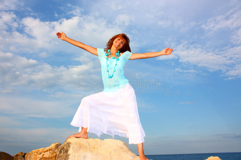 Download Woman with open arms stock image. Image of arms, face - 20834143