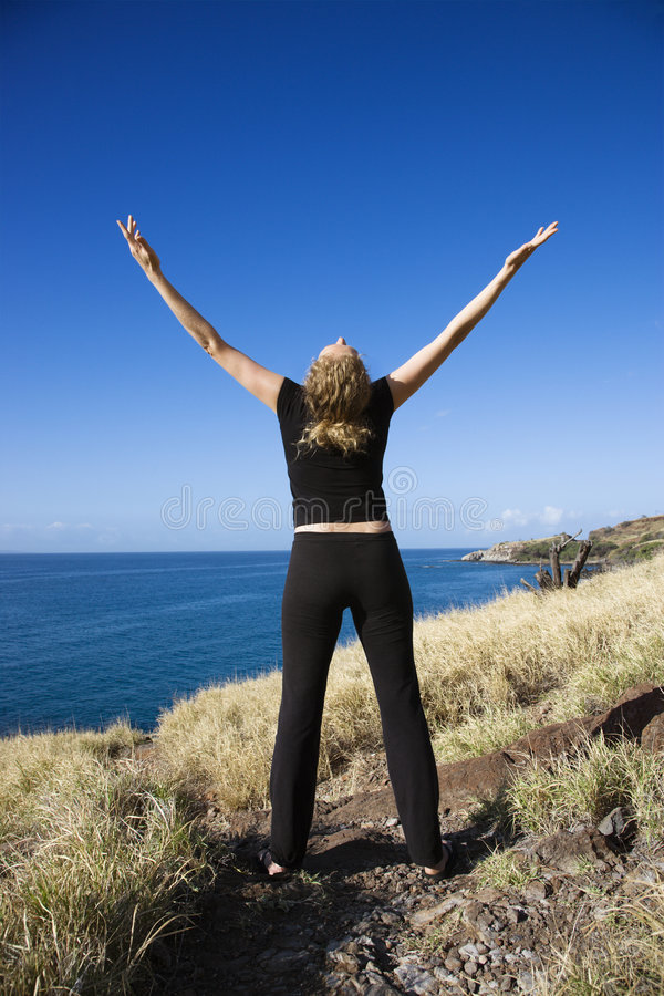 Download Woman with open arms. stock image. Image of meditation - 3418879