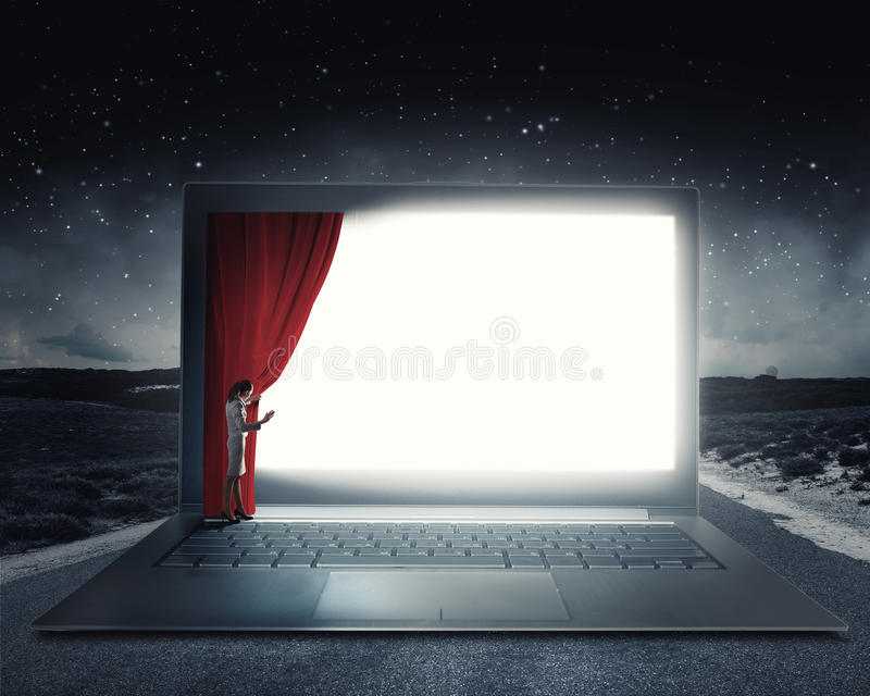 Woman open curtain. Young businesswoman opening curtain on laptop screen royalty free stock photography