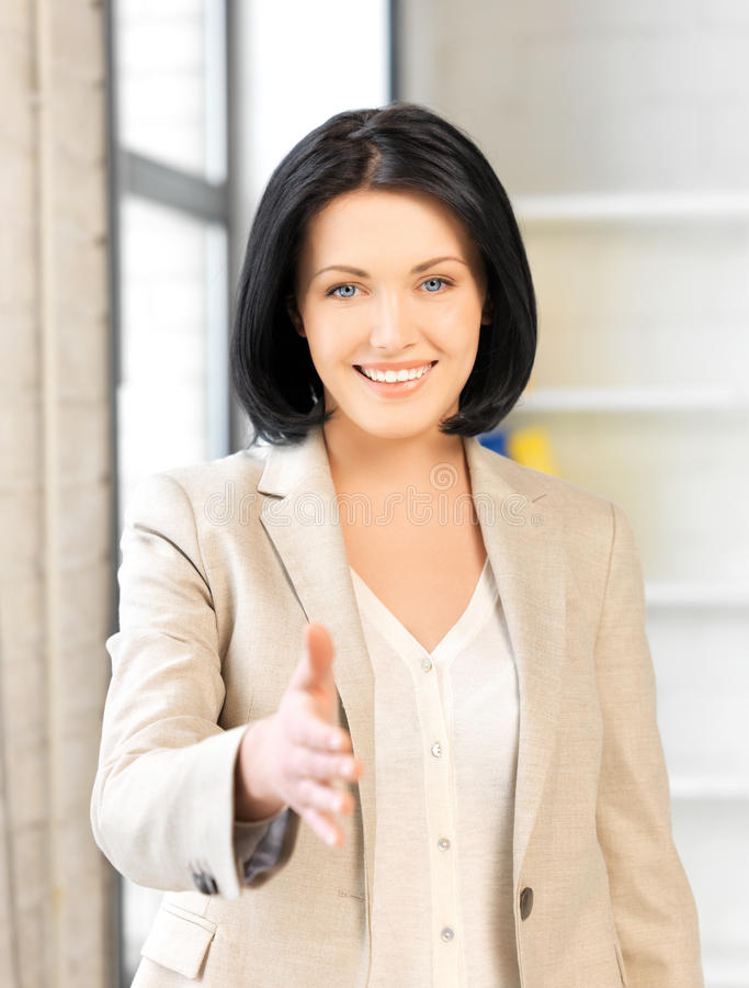 Download Woman With An Open Hand Ready For Handshake Stock Image - Image: 25143335