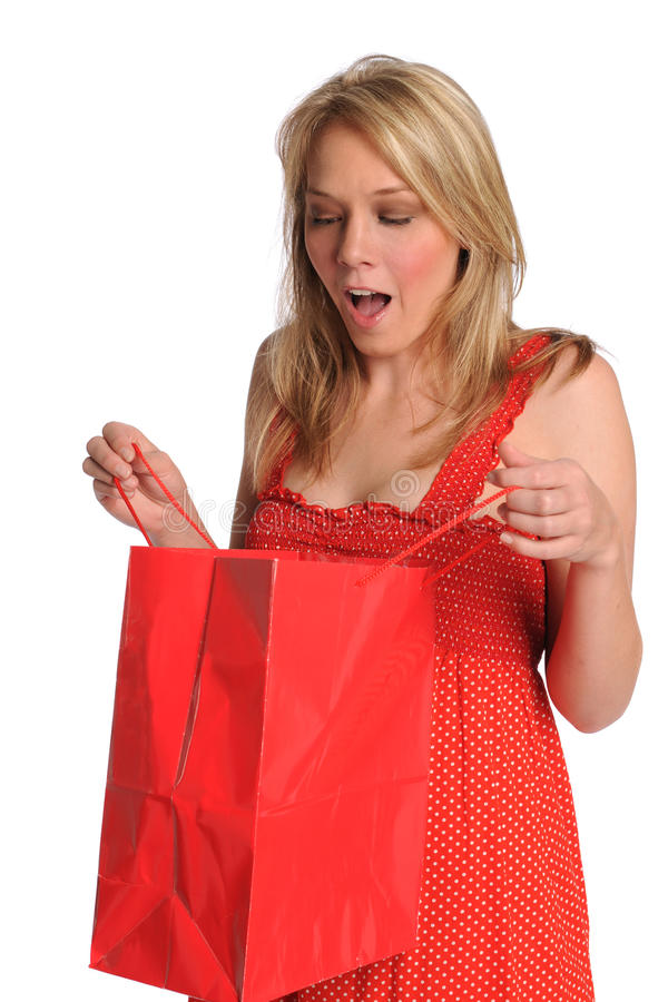 Download Woman Opening Gift Bag stock photo. Image of gift, expressive - 14391404