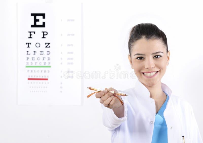 Woman Optician or optometrist stock photo