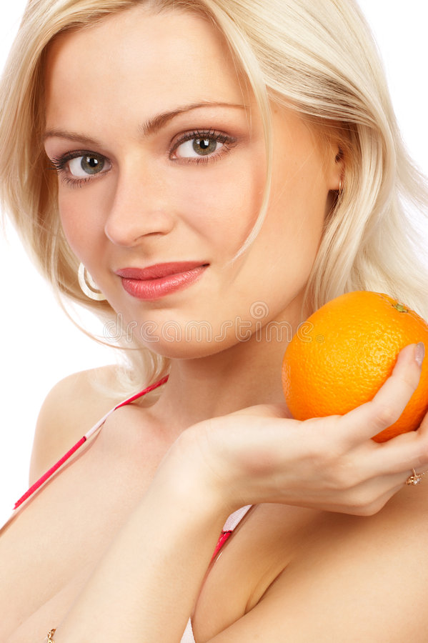 Woman with orange stock photos