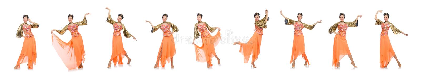 Woman in orange dress isolated on white royalty free stock photos