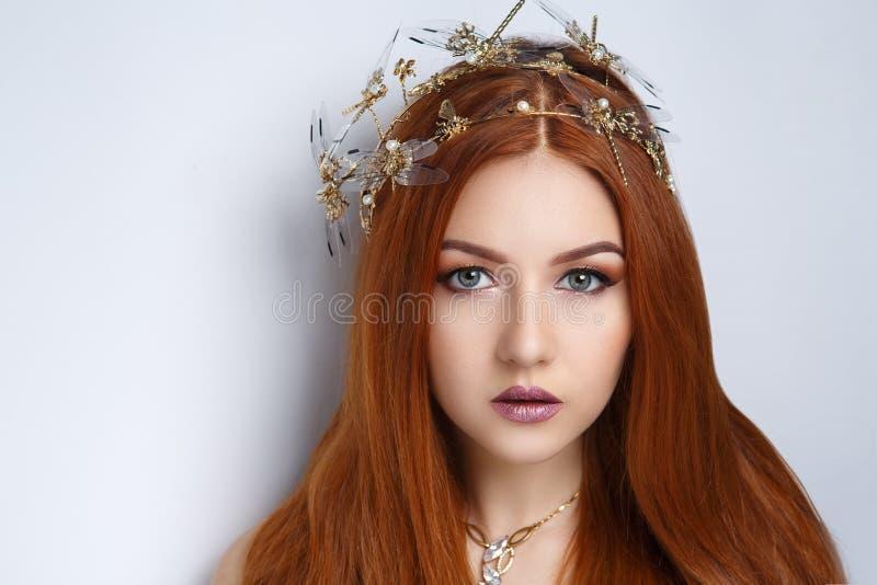 Woman orange hair royalty free stock photography