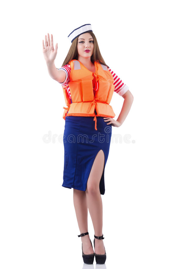 Woman with orange vest. Isolated on white stock images