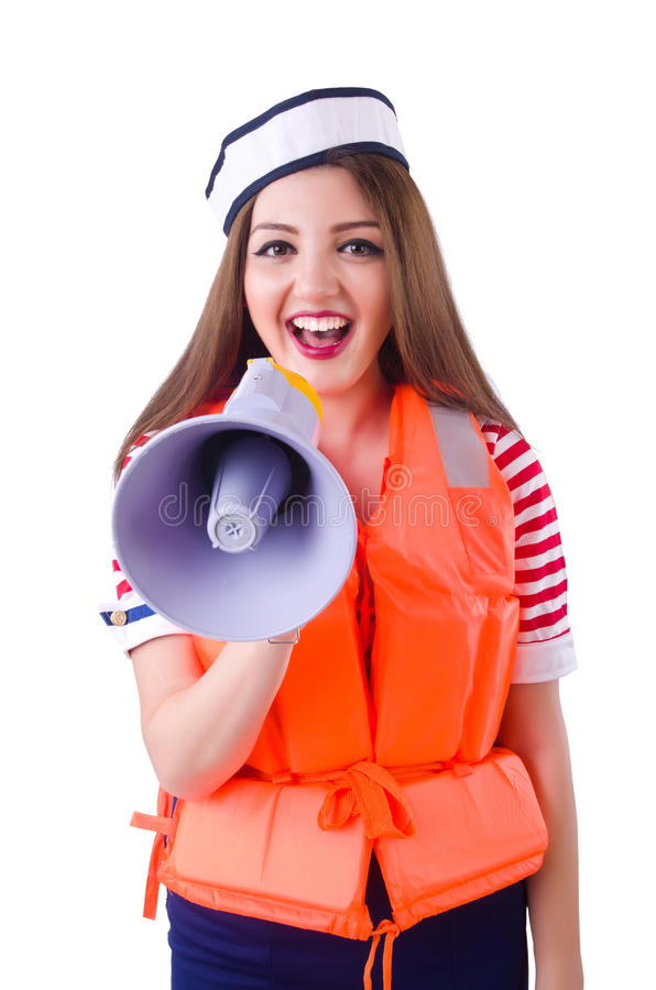 Woman with orange vest. Isolated on white stock photography
