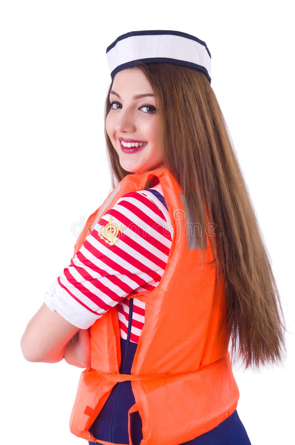 Woman with orange vest. Isolated on white royalty free stock photos