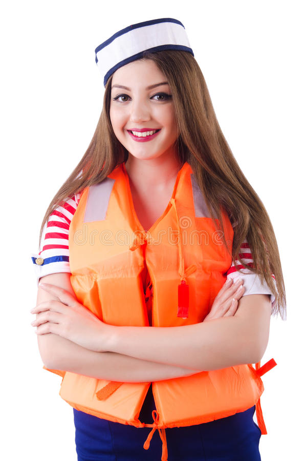 Woman with orange vest. Isolated on white stock photos