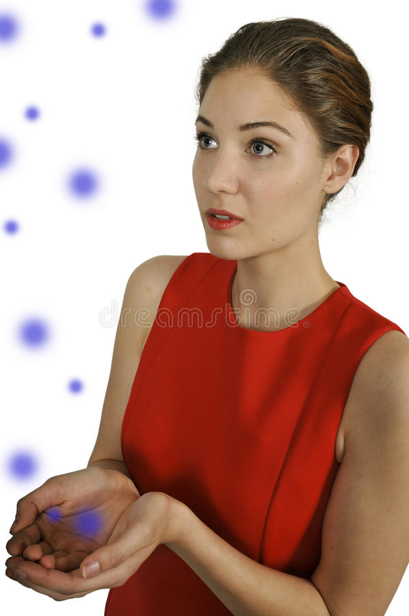 Woman with Orbs royalty free stock photography