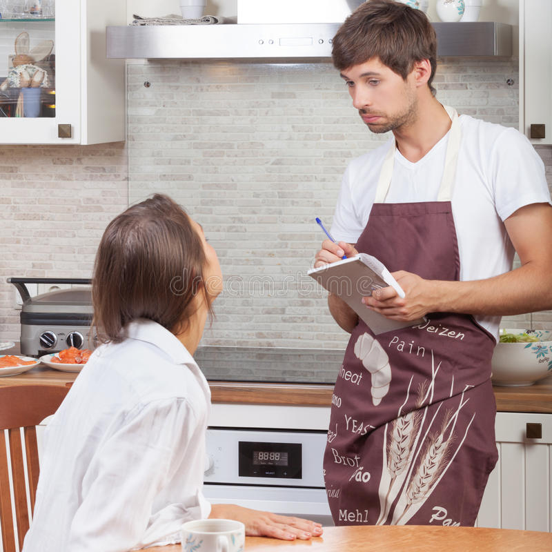 Woman ordering food. At home royalty free stock photos