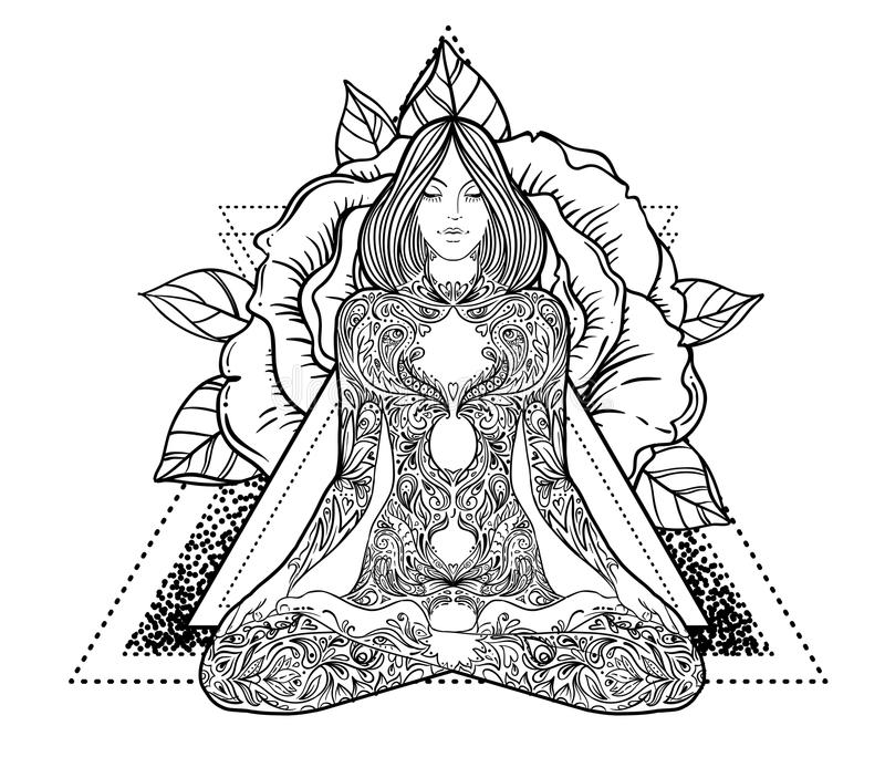 Woman ornate silhouette sitting in lotus pose. Meditation, aura royalty free illustration