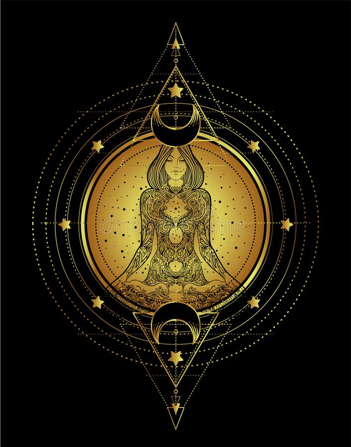 Woman ornate silhouette sitting in lotus pose and Sacred Geometry. Ayurveda symbol of harmony and balance. Tattoo design, yoga lo. Go. poster, t-shirt textile stock illustration