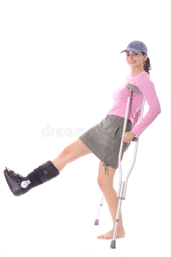 Download Woman with an ortho boot stock photo. Image of clipboard - 15711668